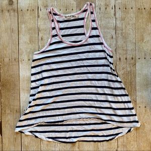 Micheal Stars navy striped racerback tank top